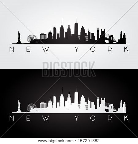New York USA skyline and landmarks silhouette black and white design vector illustration.