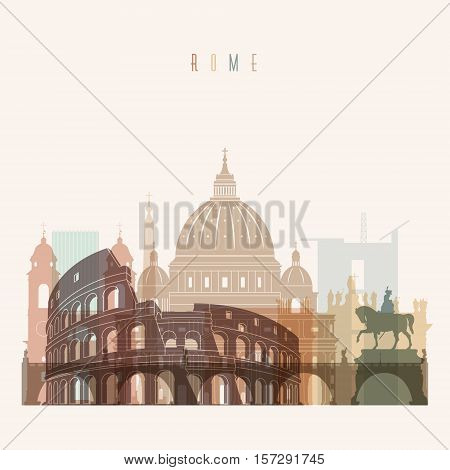 Transparent styled Rome skyline detailed silhouette. Trendy vector illustration.