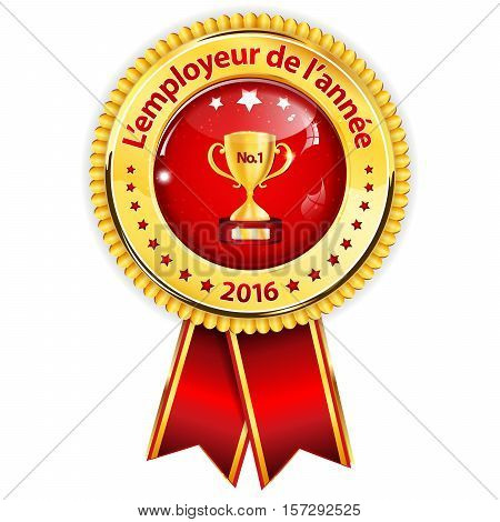 Best Employer of the year (French language) - business elegant icon / ribbon award distinction for companies.