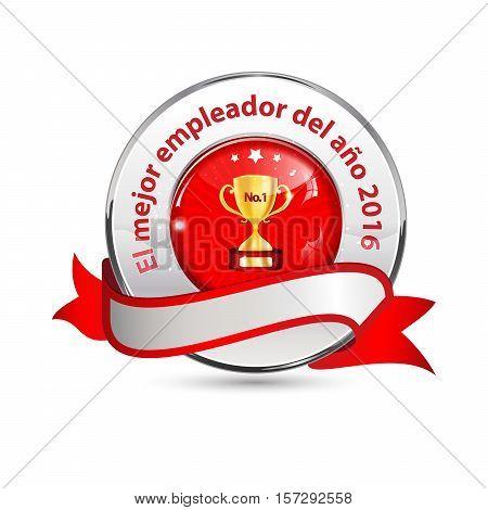 Best employer of the year 2016 - Spanish language - business elegant icon / ribbon award distinction for companies.