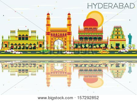 Abstract Hyderabad Skyline with Color Landmarks and Reflections. Business Travel and Tourism Concept with Historic Architecture. Image for Presentation Banner Placard and Web Site.