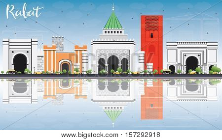 Rabat Skyline with Gray Buildings, Blue Sky and Reflections. Business Travel and Tourism Concept with Historic Architecture. Image for Presentation Banner Placard and Web Site.