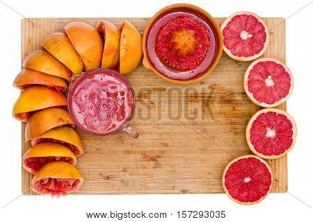 Frame Of Fresh Ruby Grapefruit Halves