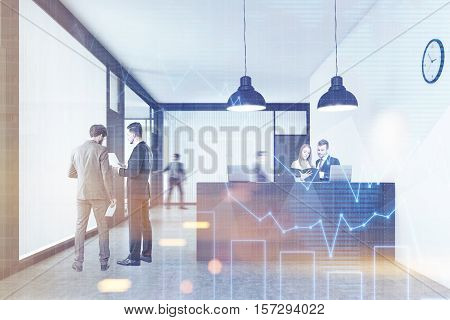 People are talking in the company lobby standing near the reception counter or walking. Concept of busy office. 3d rendering. Mock up. Toned image. Double exposure