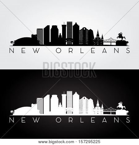 New Orleans USA skyline and landmarks silhouette black and white design vector illustration.