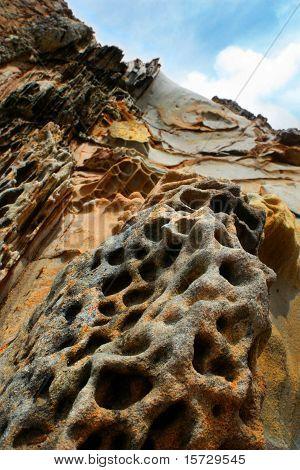 Rock formation up hillside