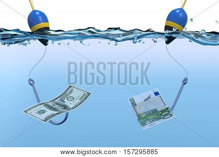 Two Fish Hooks With Banknotes