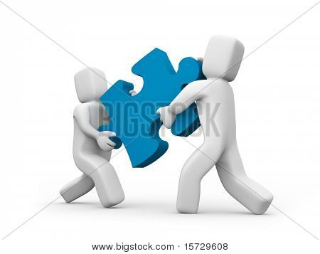 People transfer a puzzle - Teamwork concept Business concept isolated on white