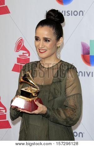 LAS VEGAS - NOV 17:  Julieta Venegas at the 17th Annual Latin Grammy Awards Press Room at T-Mobile Arena on November 17, 2016 in Las Vegas, NV