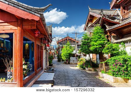 Scenic Street In The Old Town Of Lijiang. Yunnan Province, China