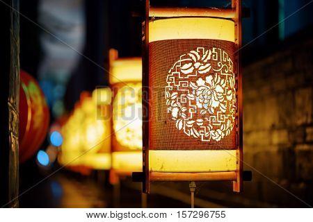 Night View Of Traditional Chinese Street Lanterns. Lijiang