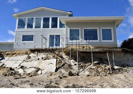 VILANO BEACH, FLORIDA, USA - NOVEMBER 6, 2016: Aftermath of beach house damage caused by hurricane Matthew hitting the east coast of Florida on October 7, 2016.