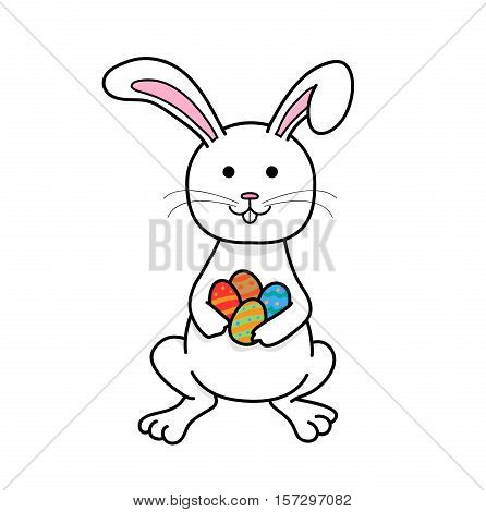 Thanksgiving Easter Bunny Rabbit, a hand drawn vector cartoon illustration of a white Easter Bunny holding colorful eggs.