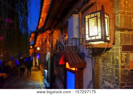 Night View Of Traditional Chinese Street Lamp In Lijiang