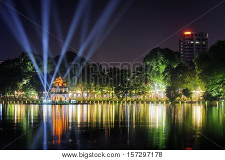 Night View Of The Sword Lake And The Turtle Tower In Hanoi