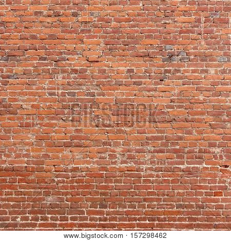 Large Red Brown Old Vintage Brickwall Frame Square Background Texture