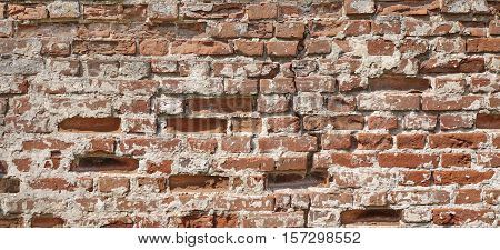 Cracked Grungy Old Red Clay Brick Wall Wide Background Texture