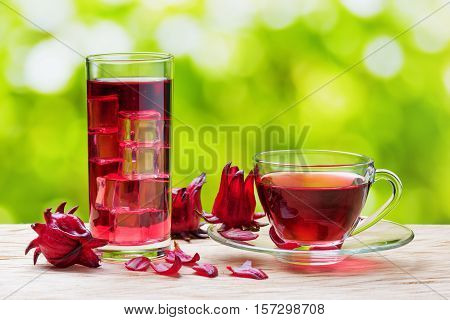 Cup Of Hot Hibiscus Tea And The Same Cold Drink With Ice