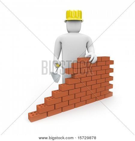The builder builds a wall poster