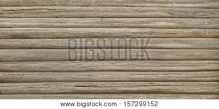 Modern Rustic Natural Log Cabin Wall Facade Wide Background Texture
