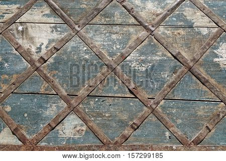 Old Wood Panel With Iron Cellular Pattern Horizontal Background Texture