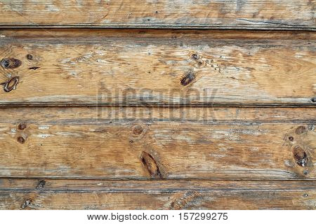 Horizontal Barn Wooden Wall Planking Texture. Horizontal Brown Wood Background