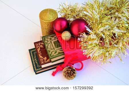 Books and Christmas. The books are a good gift for Christmas.