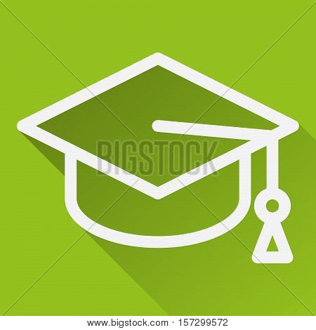 Square icon with image of academic cap isolated on green.