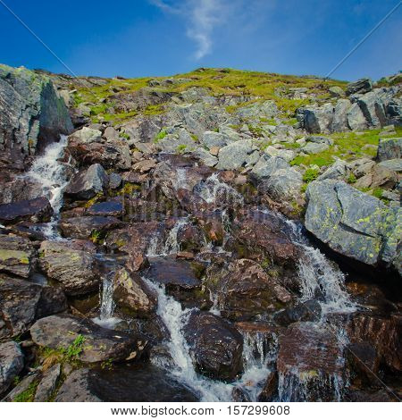 Beautiful vibrant panorama picture with a view on icelandic waterfall in iceland goddafoss gullfoss skogafoss skogarfoss dettifoss seljalandsfoss poster