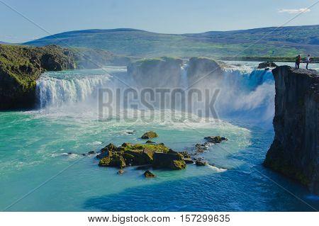 Beautiful vibrant panorama picture with a view on icelandic waterfall in iceland goddafoss gullfoss skogafoss skogarfoss dettifoss seljalandsfoss