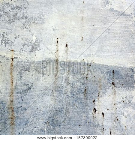 Decrepit White Cracked  Plaster Old Wall Frame Square Background Texture