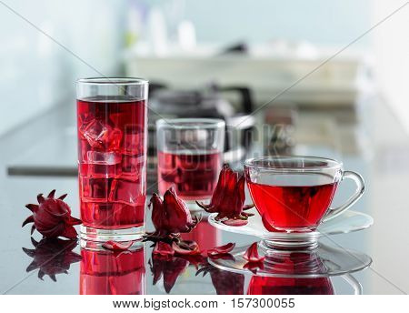 Magenta Hibiscus Tea (karkade, Red Sorrel) On Kitchen Table