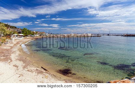 Sandy beach in Nea Skioni village, Halkidiki, Greece
