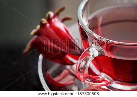 Closeup View Of Cup Of Hibiscus Tea (rosella, Karkade)