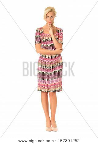 Full Length Of Flirtatious Woman In Summer Dress Isolated On White