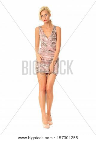 Portrait Of Flirtatious Woman In Short Tight Dress Isolated On White