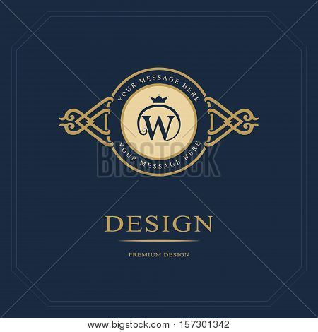 Monogram design elements graceful template. Calligraphic elegant line art logo design. Letter emblem sign W for Royalty business card Boutique Hotel Heraldic Jewelry. Vector illustration