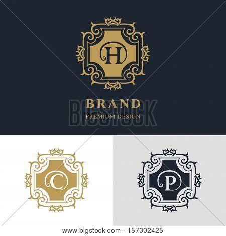 Monogram design elements graceful template. Calligraphic elegant line art logo design. Letter emblem sign H C P for Royalty business card Boutique Hotel Heraldic Jewelry. Vector illustration
