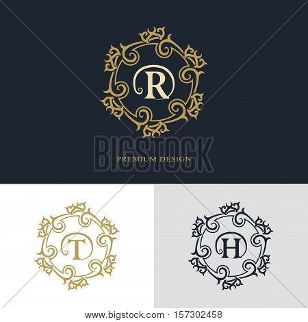 Monogram design elements graceful template. Calligraphic elegant line art logo design. Letter emblem sign R T H for Royalty business card Boutique Hotel Heraldic Jewelry. Vector illustration