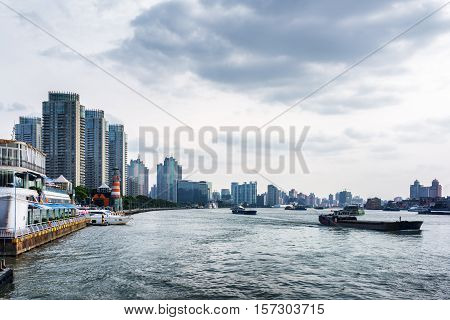 Self-propelled Barges On The Huangpu River. Shanghai, China