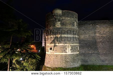 Exterior Of Angers Castle At Night , Angers City, Maine-et-loire, France