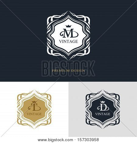 Monogram design elements graceful template. Calligraphic elegant line art logo design. Letter emblem sign M T D for Royalty business card Boutique Hotel Heraldic Jewelry. Vector illustration