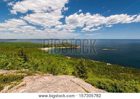 A view of Sand Beach in Acadia National Park Maine