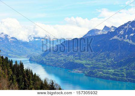 View from Harder Kulm Interlaken Switzerland. Mountains and a lake.