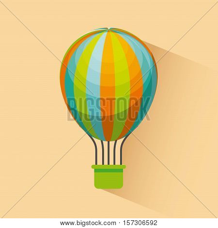 air balloon icon over yellow background. colorful design. vector illustration