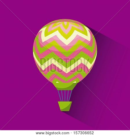 air balloon icon over purple background. colorful design. vector illustration