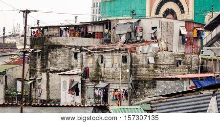 Many Shacks Located At Slum Region