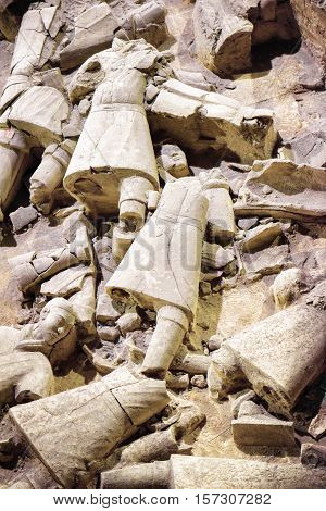 Remains Of Terracotta Soldiers Of The Famous Terracotta Army