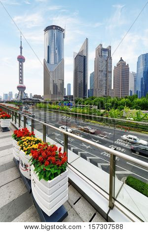 Modern View Of Century Avenue And Skyscrapers, Shanghai, China