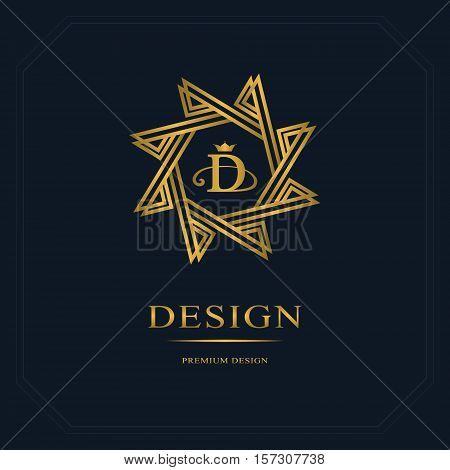 Emblem eight-pointed star. Creative logo design templates. Abstract minimalistic design. Geometric and simple monogram. Business sign D for holistic medicine centers yoga classes. Vector illustration